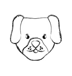 Figure cute dog head pet animal vector