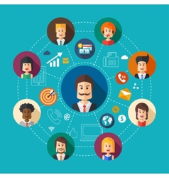 Flat design business team work vector