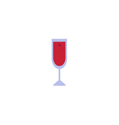 flat red wine glass icon vector image