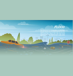 Flood or natural disaster in city concept vector
