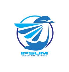 flying blue bird logo vector image
