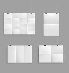 Folded paper mockup set vector