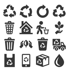 garbage and recycling related icons set on white vector image