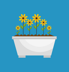 Garden cute flowers icon vector