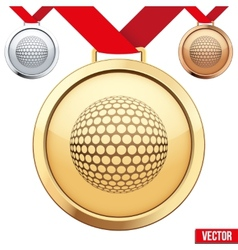 Gold Medal with the symbol of a golf inside vector image