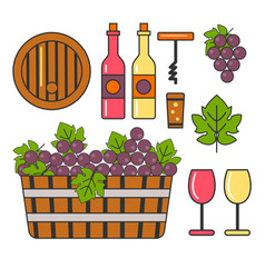 grapes and wine winemaking and winery barrel and vector image