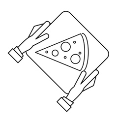 Hand boy delivery box pizza outline vector