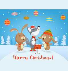 Happy christmas card with cute wolf vector