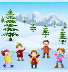 Happy kid singing in the snowing hill vector