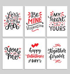 happy valentines day typography set vector image