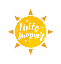 Hello summer sun eco bio lettering text banner vector