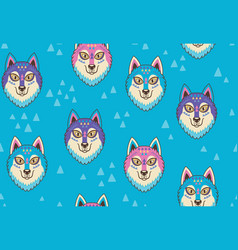 Husky or wolf seamless pattern in blue and pink vector