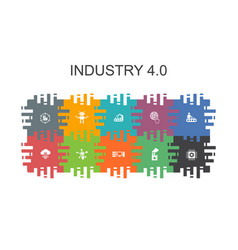 Industry 40 cartoon template with flat elements vector