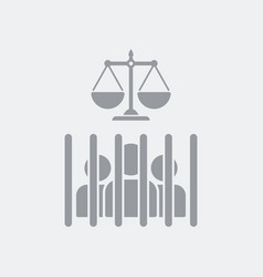 judgment and convicted behind bars vector image