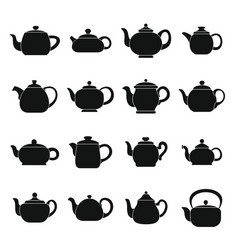 kettle teapot icons set simple style vector image