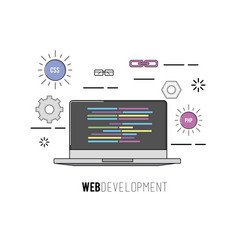laptop with code programing software data vector image