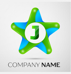 Letter j logo symbol in the colorful star on grey vector
