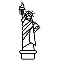 Liberty statue new york line icon sign vector