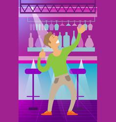 Man dancing in night club clubbing character vector