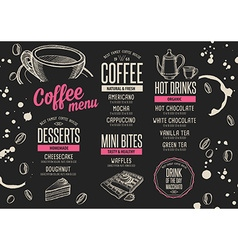 Menu coffee restaurant beverage template placemat vector image