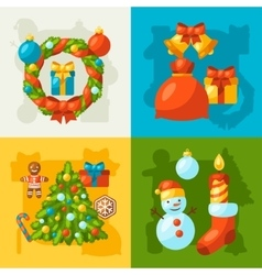 Merry Christmas holiday greeting cards with vector image vector image