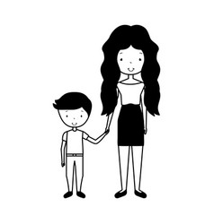 Mother with son avatars vector
