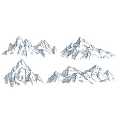 mountains peak engraving vintage engraved sketch vector image
