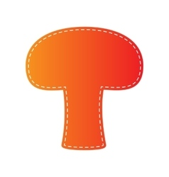Mushroom simple sign Orange applique isolated vector