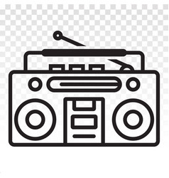 Old radio line art icons for apps or website vector