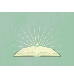 Open book rays Vintage poster in grunge style vector