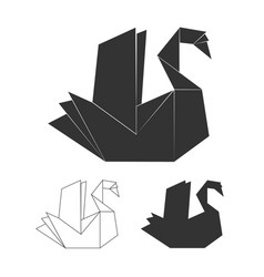 Paper origami swan on white background vector