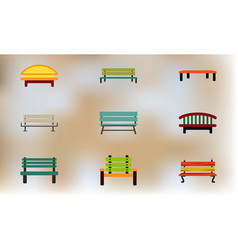 Park benches collection vector