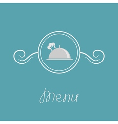 Platter cloch chef hat crown and round frame vector image