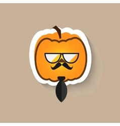 Pumpkin hipster big glasses and tie vector image