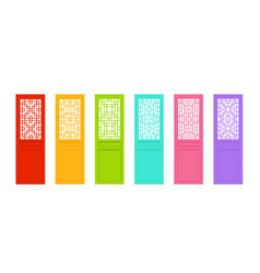 Rectangle chinese door with asian pattern vector