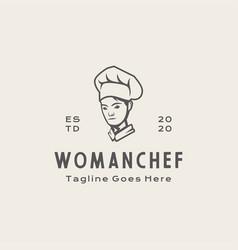 Retro woman chef restaurant logo design vector