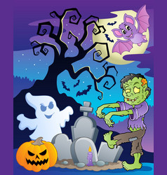 Scene with halloween tree 6 vector