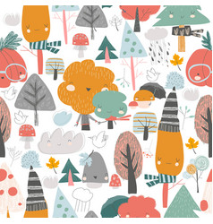 seamless pattern with colorful autumn trees vector image