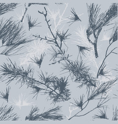 seamless pattern with silhouette of pine vector image
