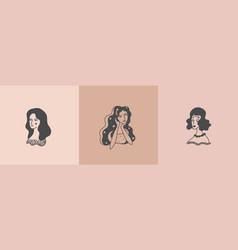 set feminine logos woman portrait vector image