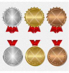 set of award medals transparent background vector image