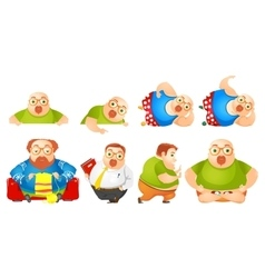 set of cheerful fat man vector image