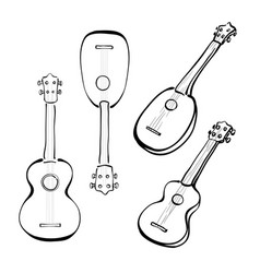 Set of hand drawn ukuleles in sketchy style vector