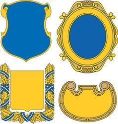 Set of heraldic shields and cartouches collection vector