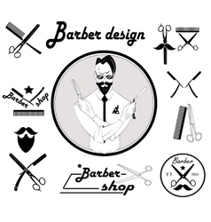 Set of vintage barber shop design vector image