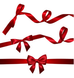 set realistic red bow with long curled red vector image