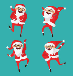 set with lovely dancing santa claus hand drawn vector image