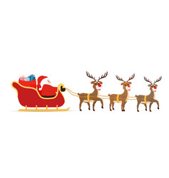 sleigh reindeers sled with santa claus vector image