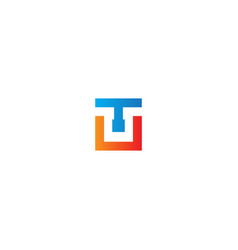 square shape t initial logo vector image