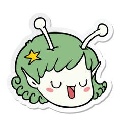 Sticker of a cartoon alien space girl face vector